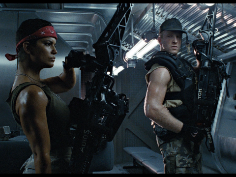 Jenette Goldstein as Vasquez in Aliens.