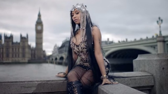 Nicki Minaj near Westminster bridge