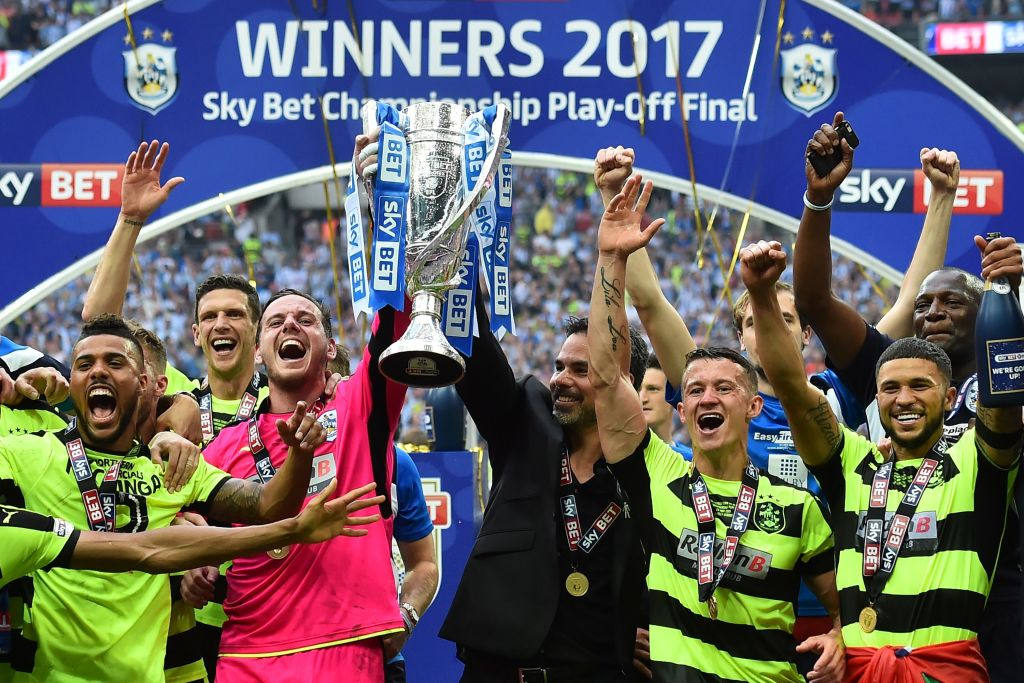 Huddersfield Town celebrate clinching promotion
