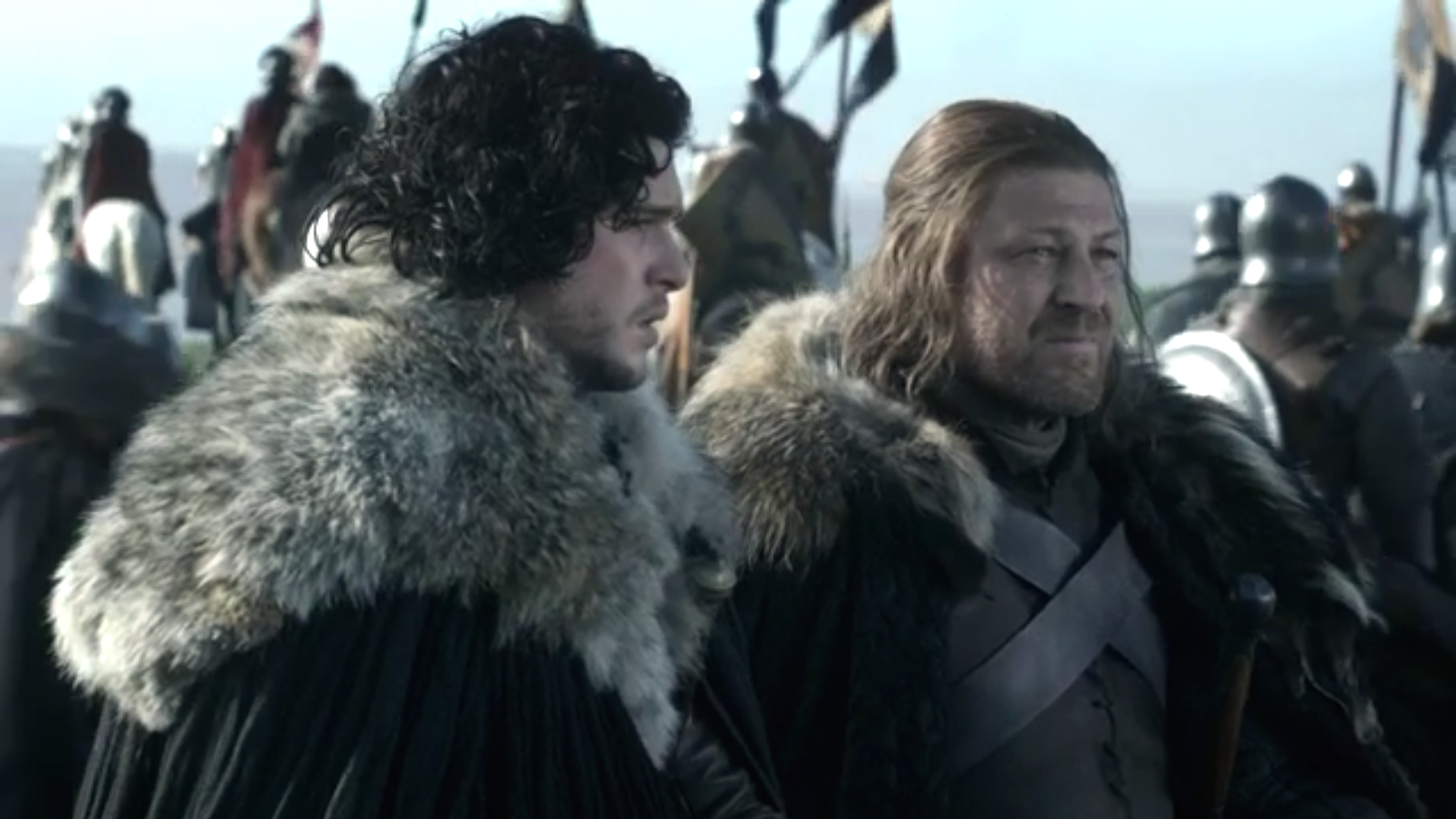 Kit Harrington and Sean Bean in Game of Thrones.