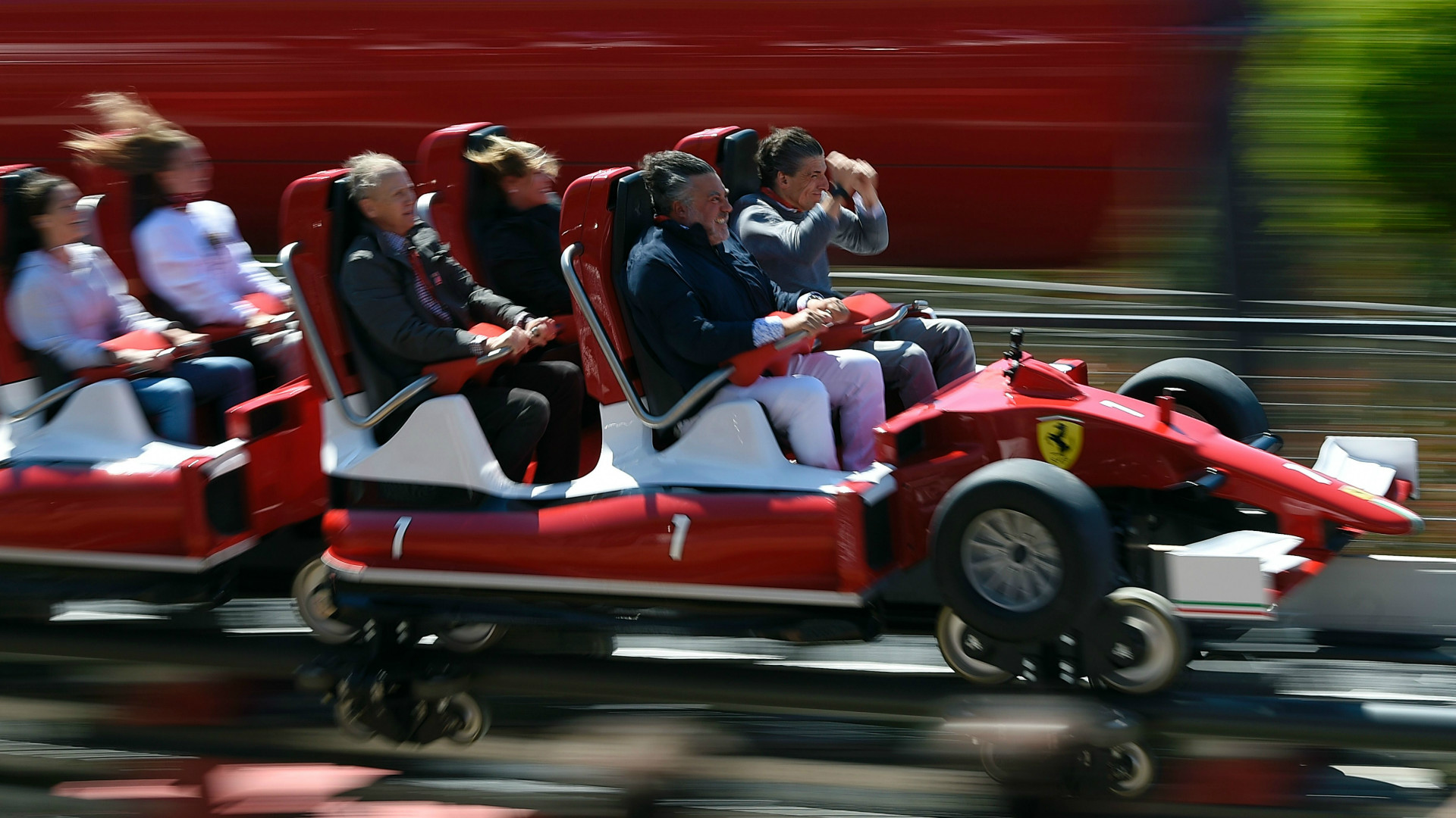 The Red Force Ferrari in action.