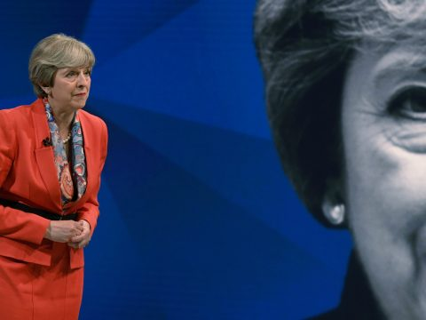 Theresa May during the discussion.
