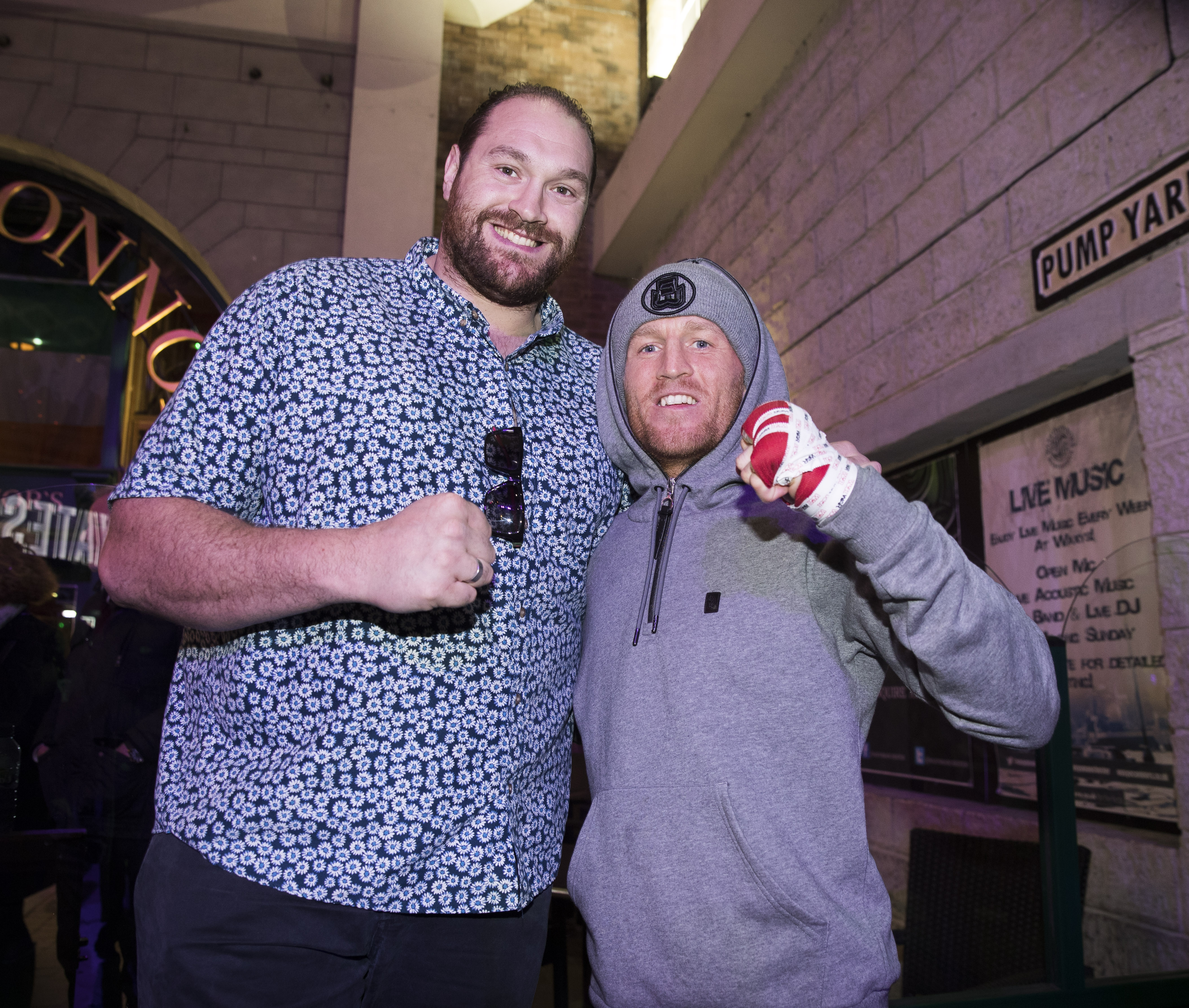 Tyson Fury smiling with Terry Flanagan.