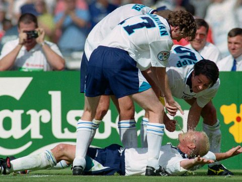 Paul Gascoigne scores for England vs Scotland