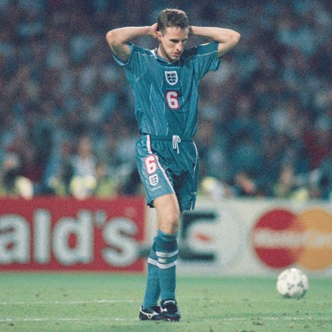 Gareth Southgate missing a penalty for England.