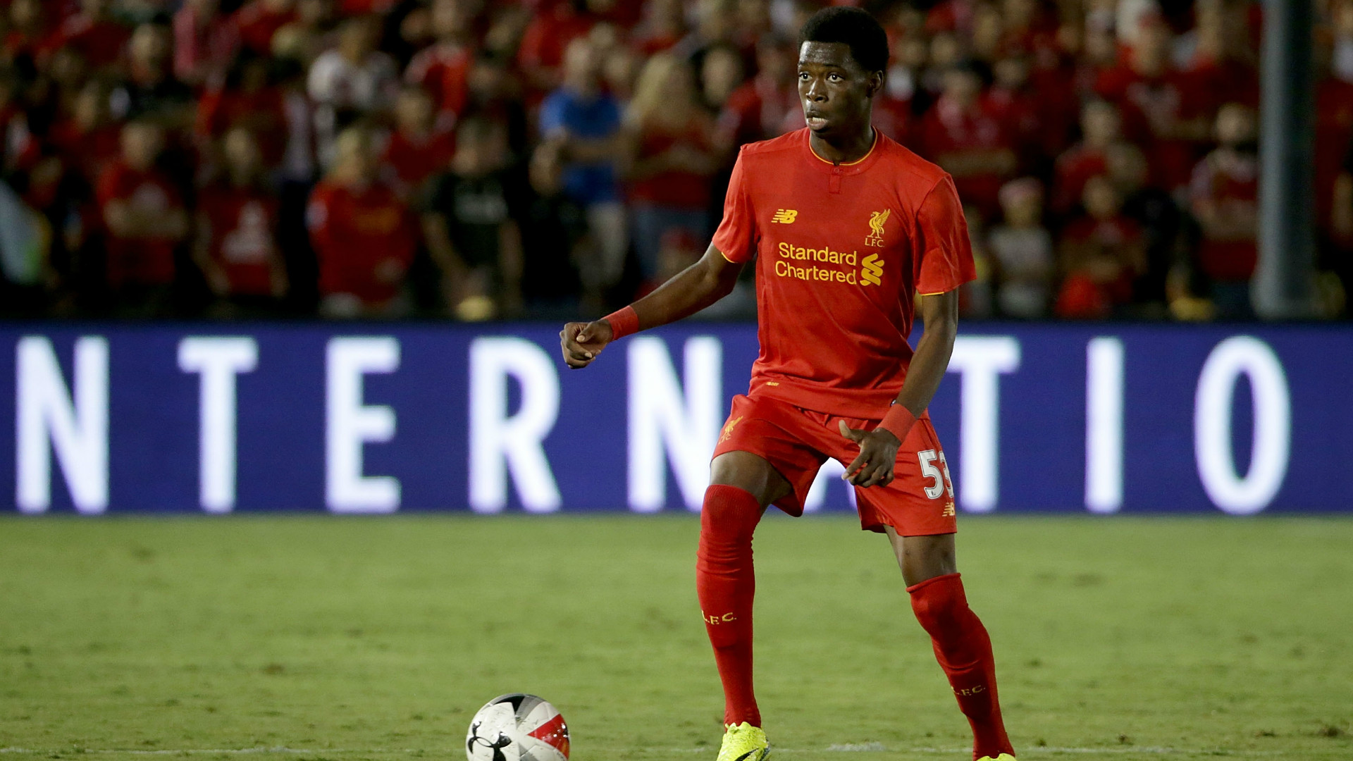 Ovie Ejaria playing for Liverpool.