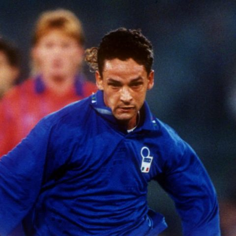 Roberto Baggio playing for Italy in 1993.