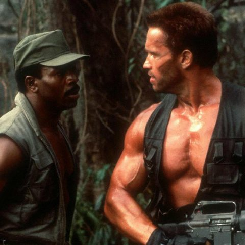 Carl Weathers and Arnold Schwarzenegger in Predator.