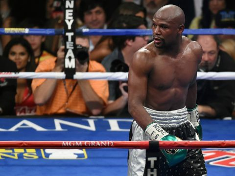 Floyd Mayweather Jr in action.