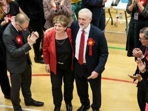 Jeremy Corbyn with Angela Thornberry.
