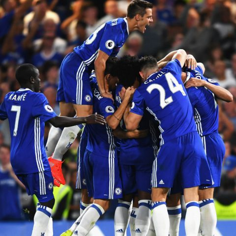 Chelsea celebrate on the opening day of the 2016/17 season