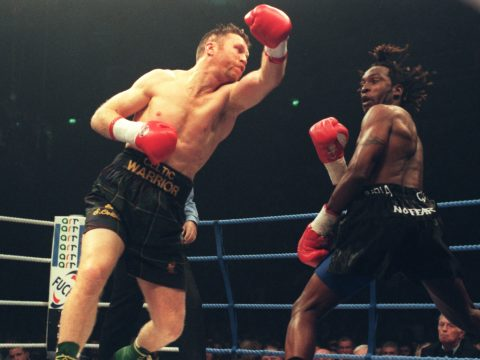 Steve Collins and Nigel Benn in 1996