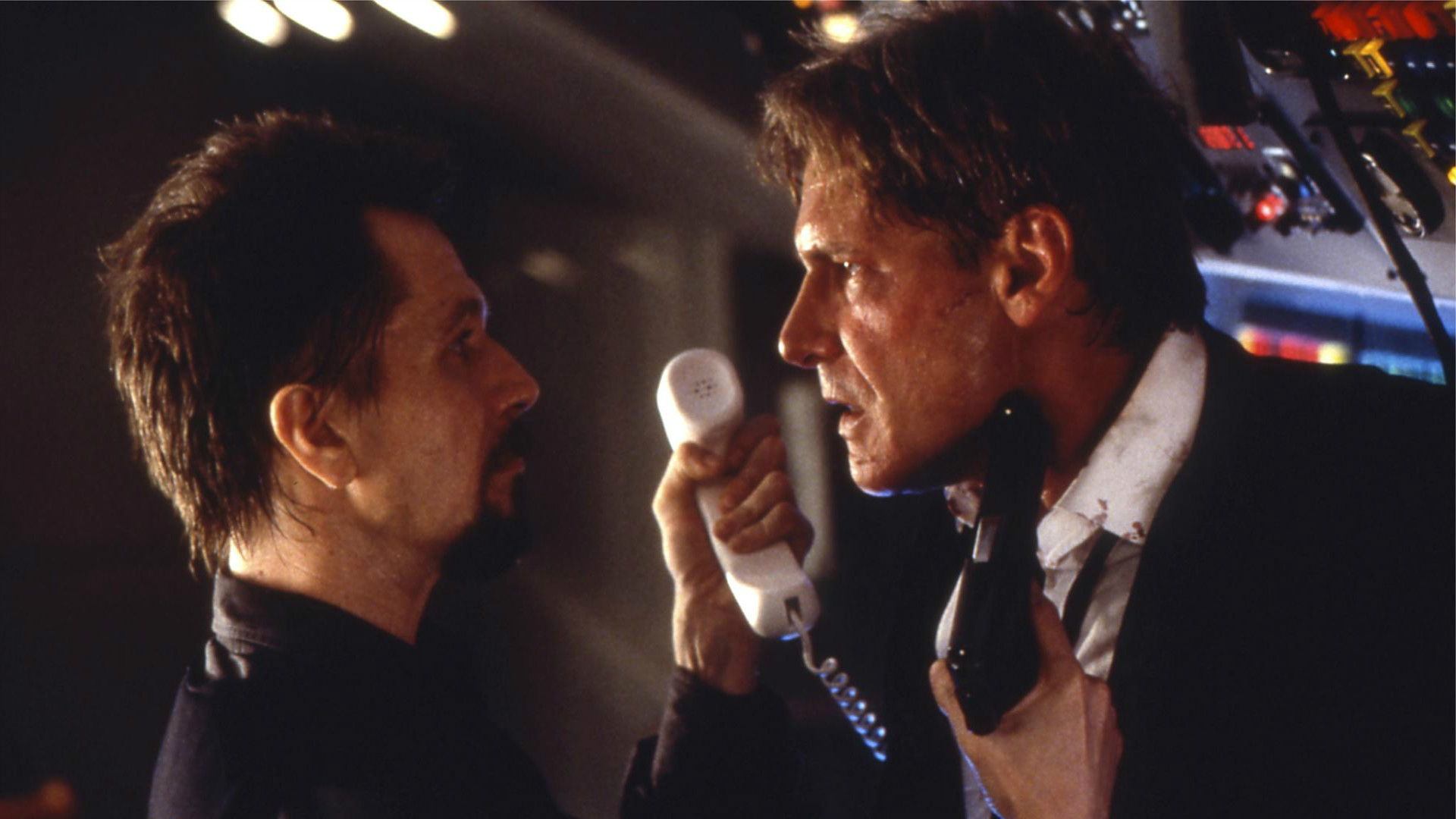 Gary Oldman and Harrison Ford in Air Force One.