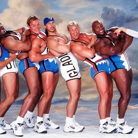 Rhino and the cast of Gladiators.