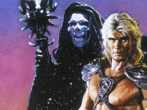 Frank Langella and Dolph Lundgren in Masters of the Universe.