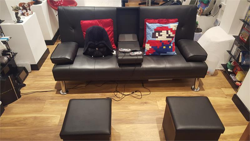 A cosy and comfortable games room.