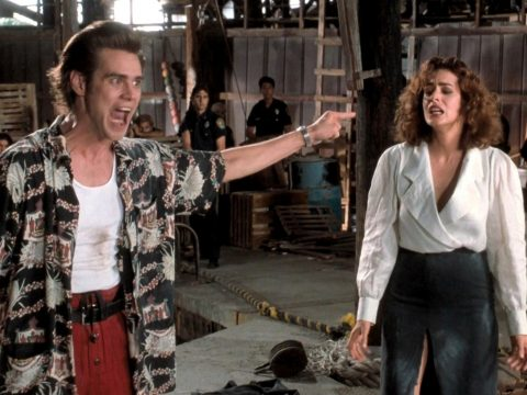 Jim Carrey as Ace Ventura.