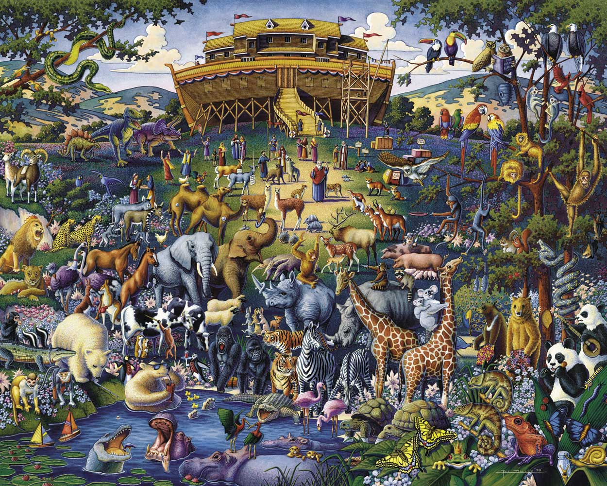 The animals getting on Noah's Ark.