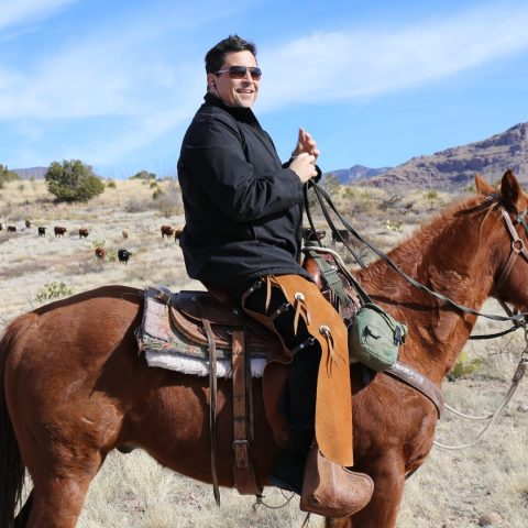 Dom Joly on a horse.