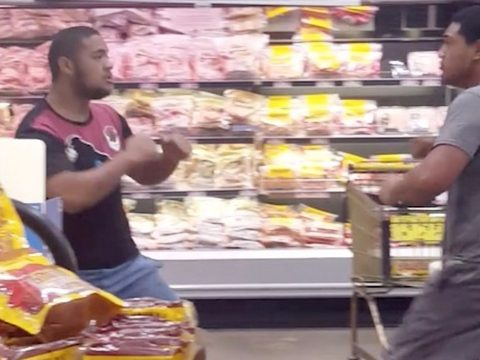 A fight in a supermarket.