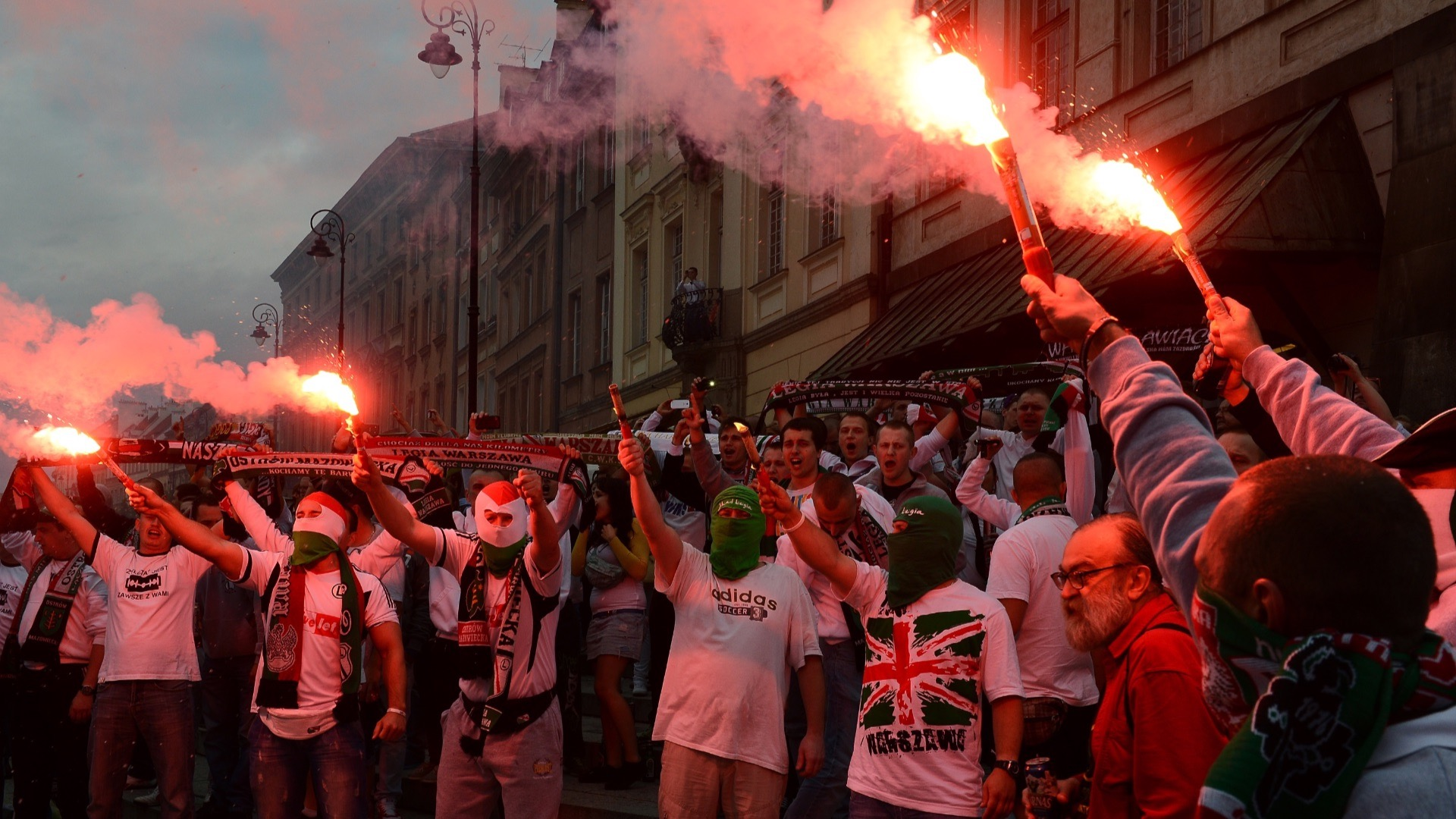 Legia Warsaw fans celebrating.