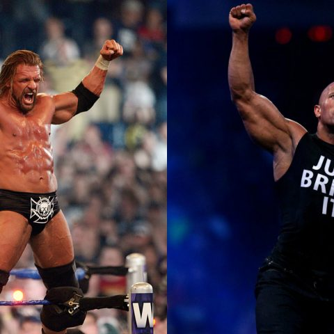 WWE stars Triple H and Dwayne 'The Rock' Johnson.