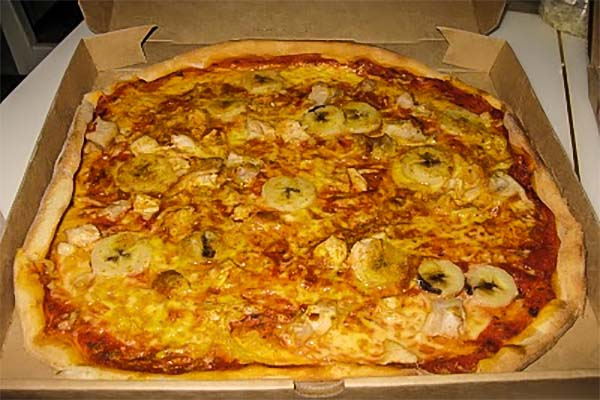 Banana curry pizza.