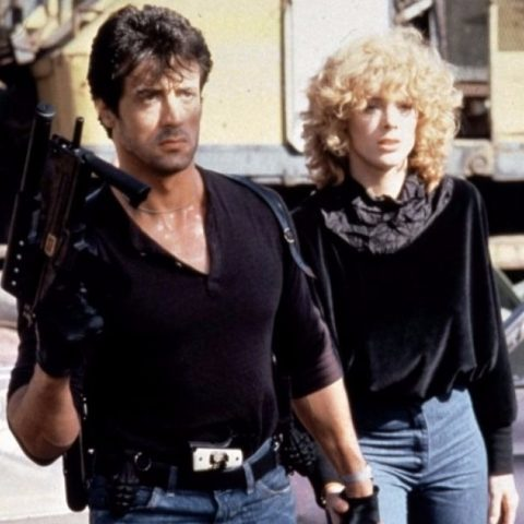 Brigitte Nielsen and Sylvester Stallone in Cobra.