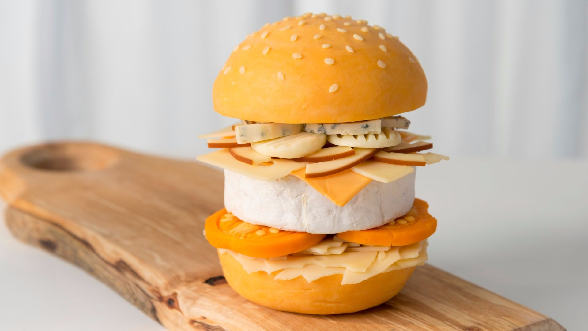 A burger made out of cheese.