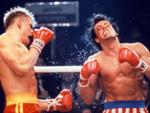 Dolph Lundgren and Sylvester Stallone in Rocky IV.