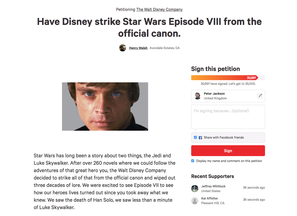 The Star Wars Last Jedi petition.