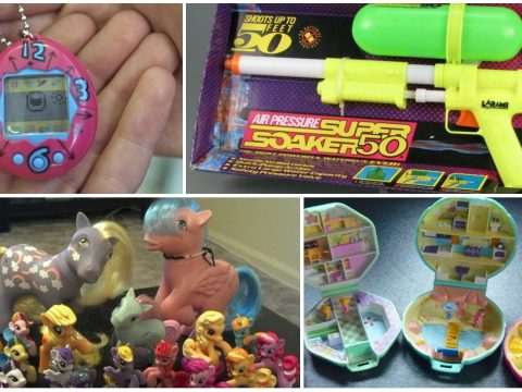 A 90s toys collage.