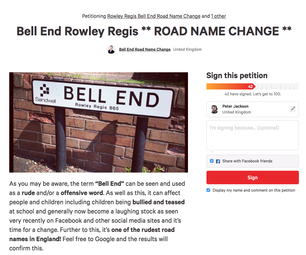 A Change.org petition.