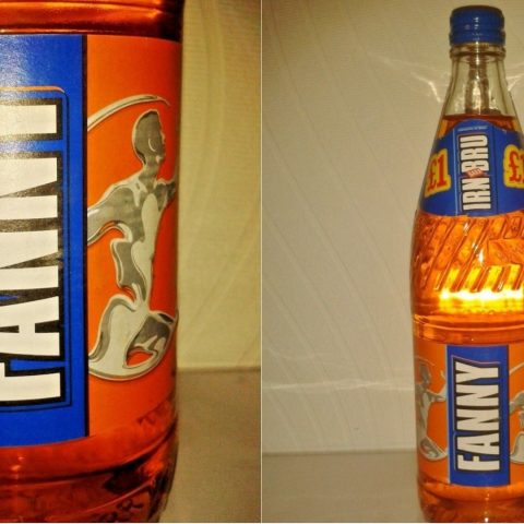 A glass bottle of Irn Bru.