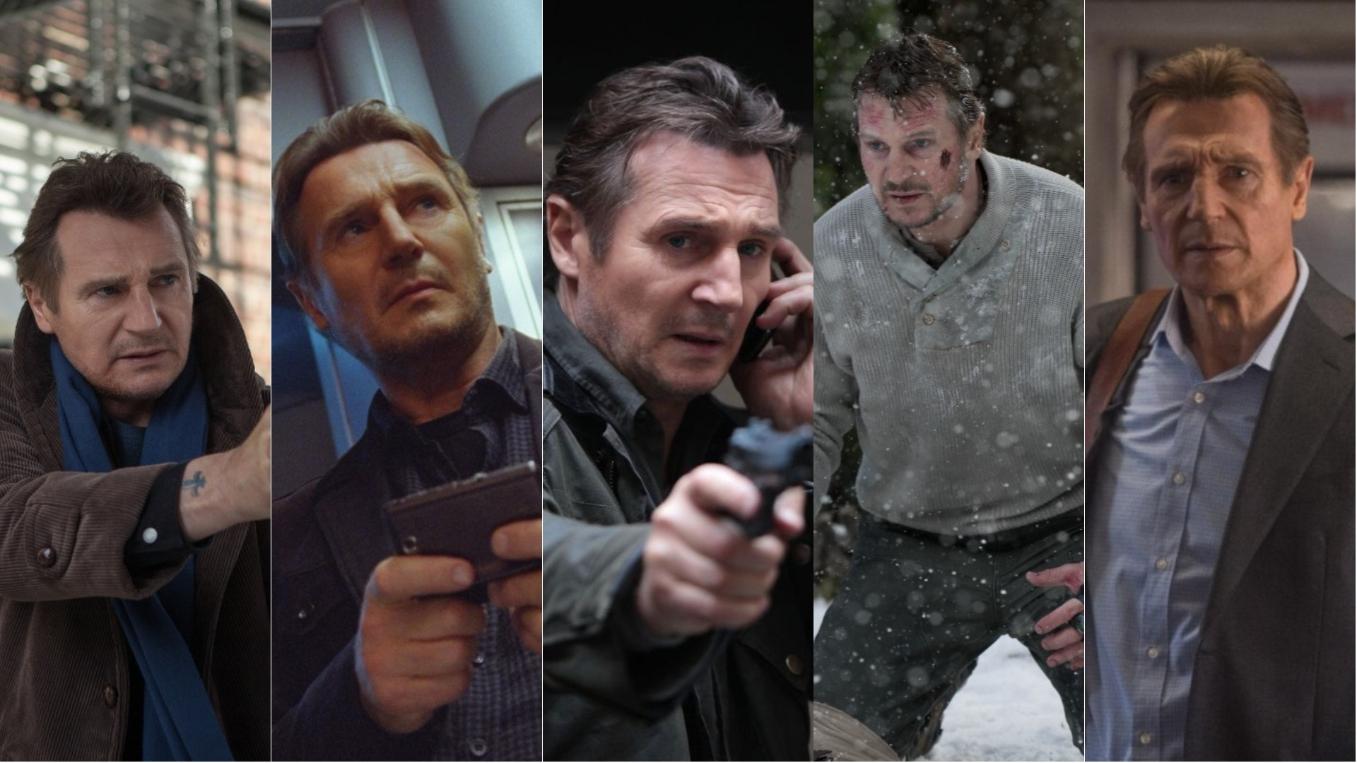 A selection of stills from Liam Neeson's movies.