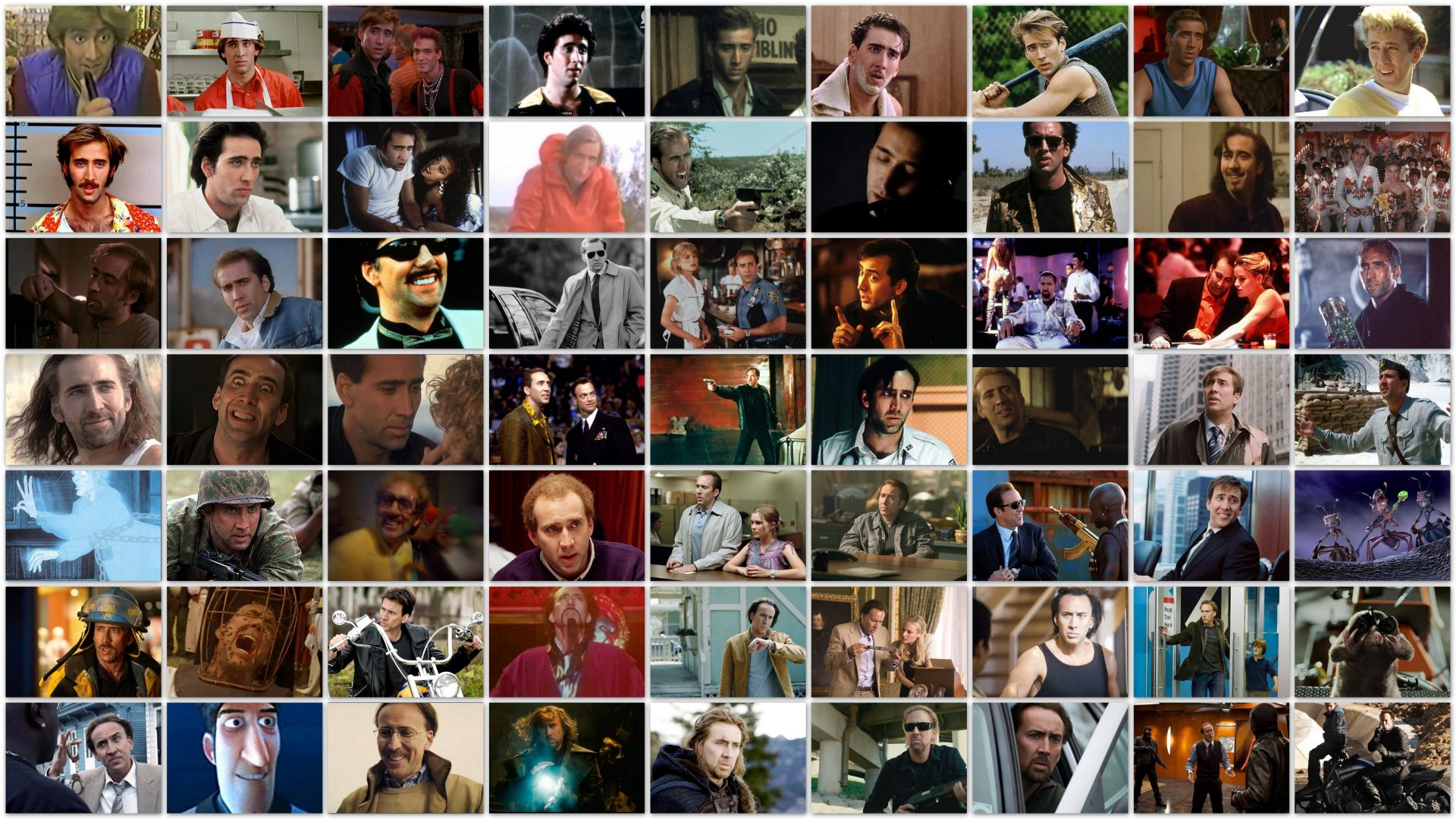 A Nicolas Cage collage.
