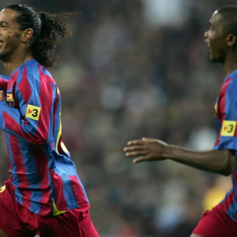 Ronaldinho playing for Barcelona.