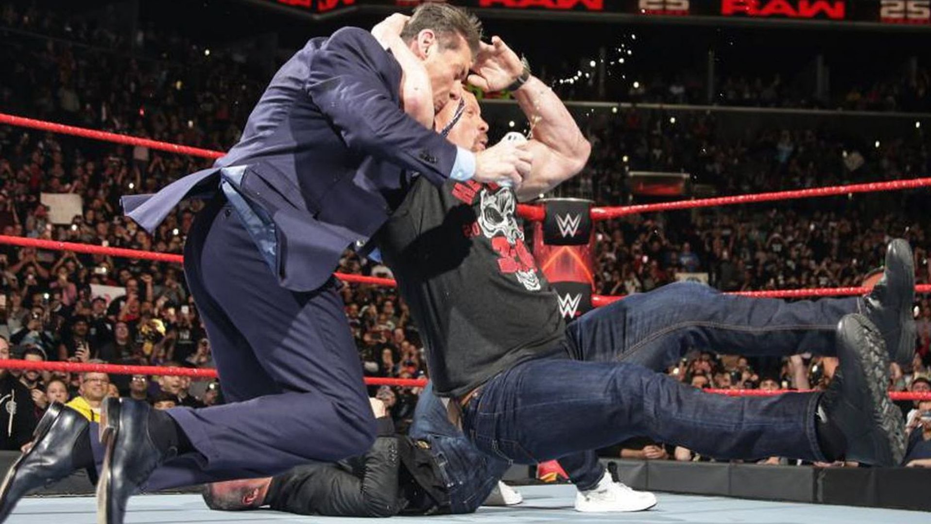 Steve Austin and Vince McMahon on WWE Monday Night Raw.