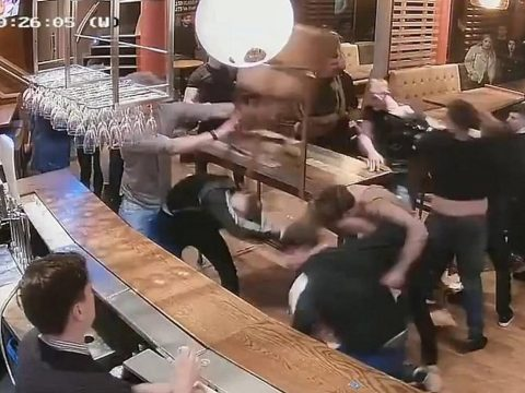 Footage from a pub brawl in Leeds.