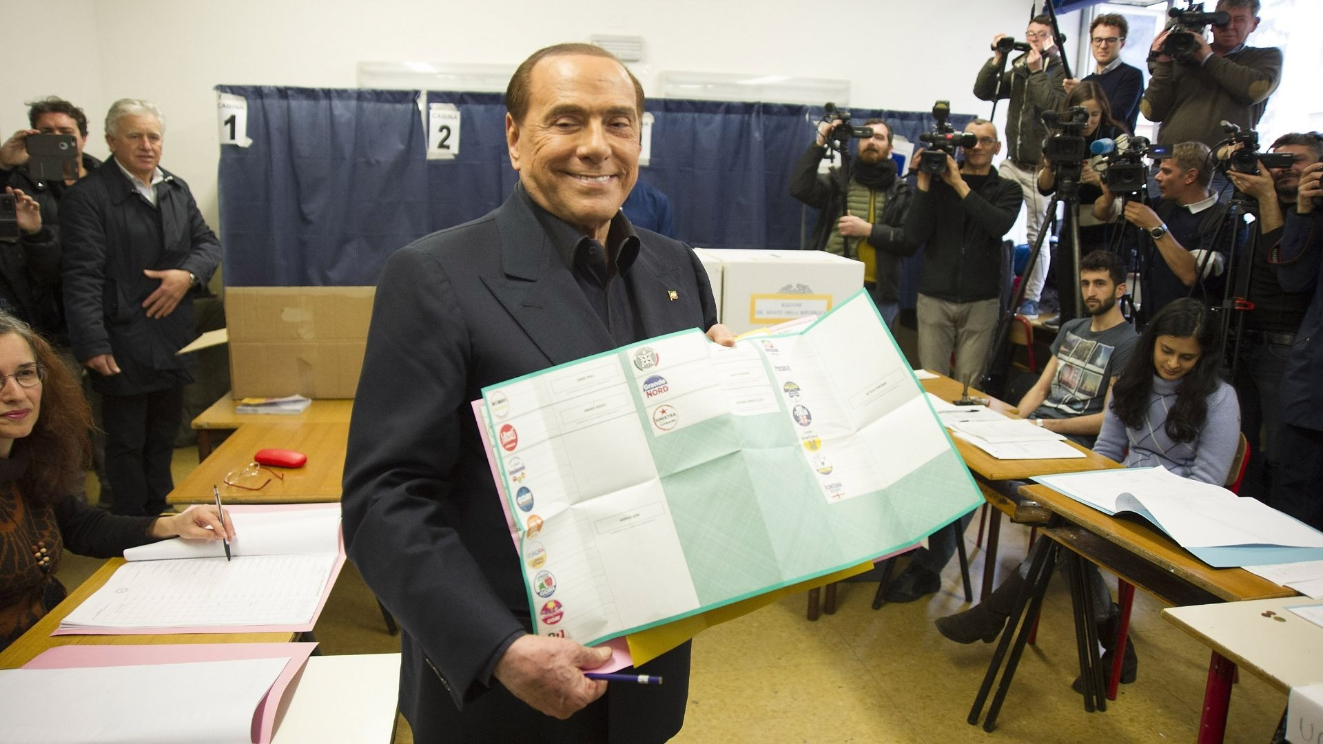 Silvio Berlusconi during an election protest.