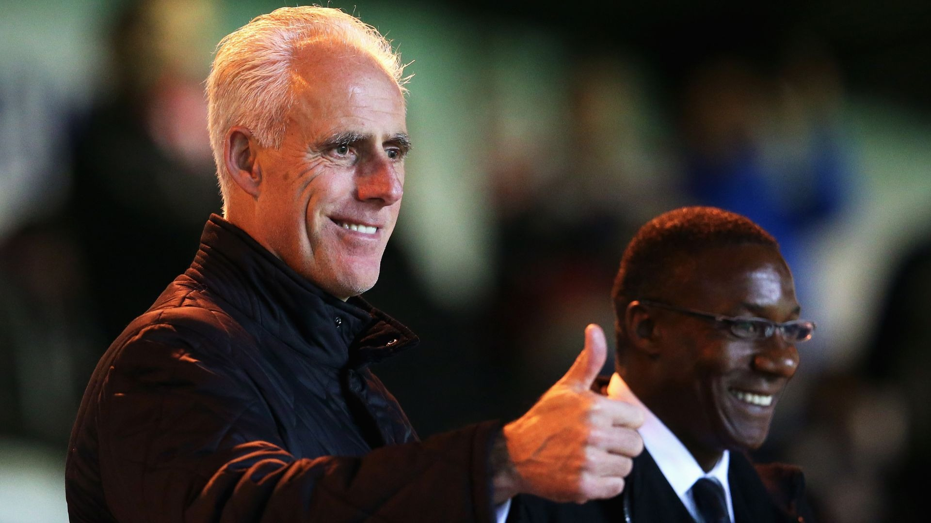 Mick McCarthy gives the fans the thumbs up.