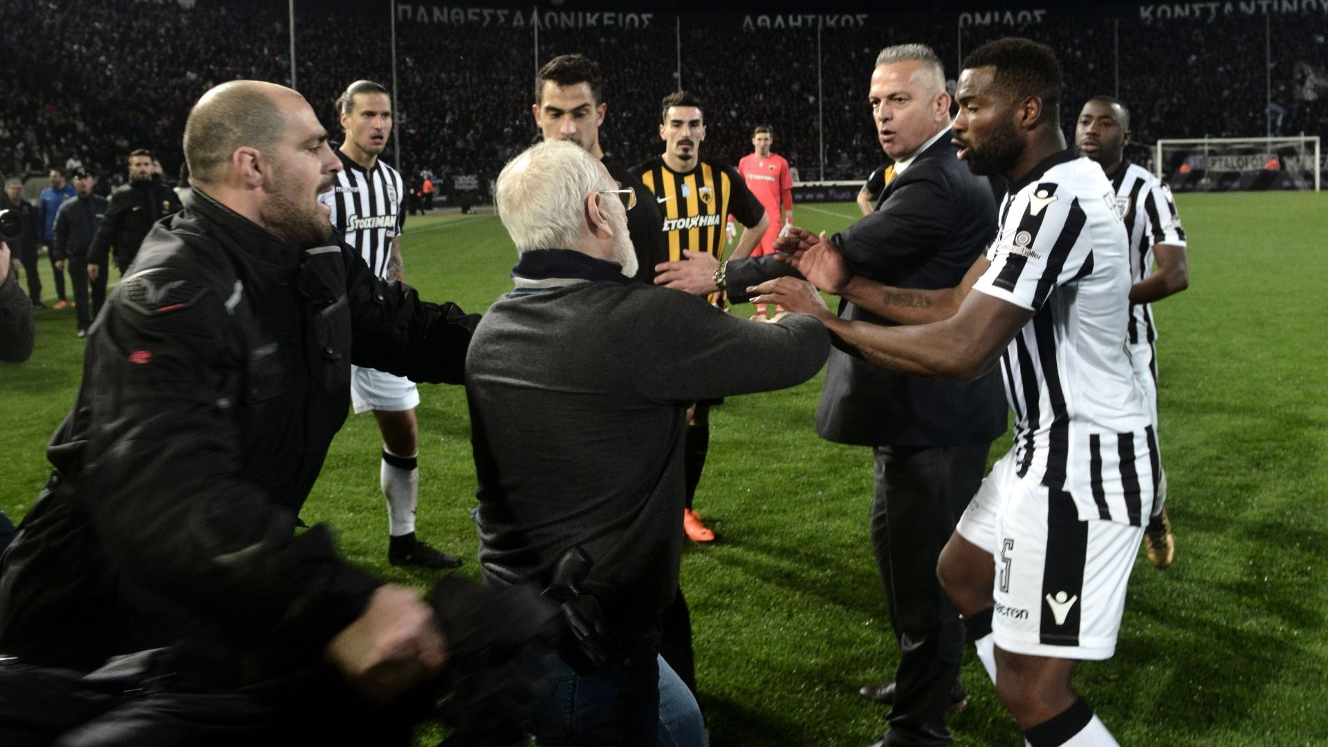 PAOK President reacts to a refereeing decision.