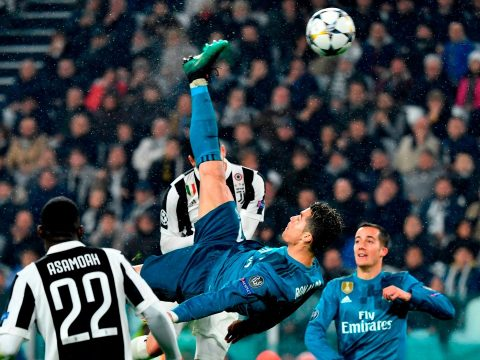 Cristiano Ronaldo scoring a bicycle kick for Real Madrid against Juventus.