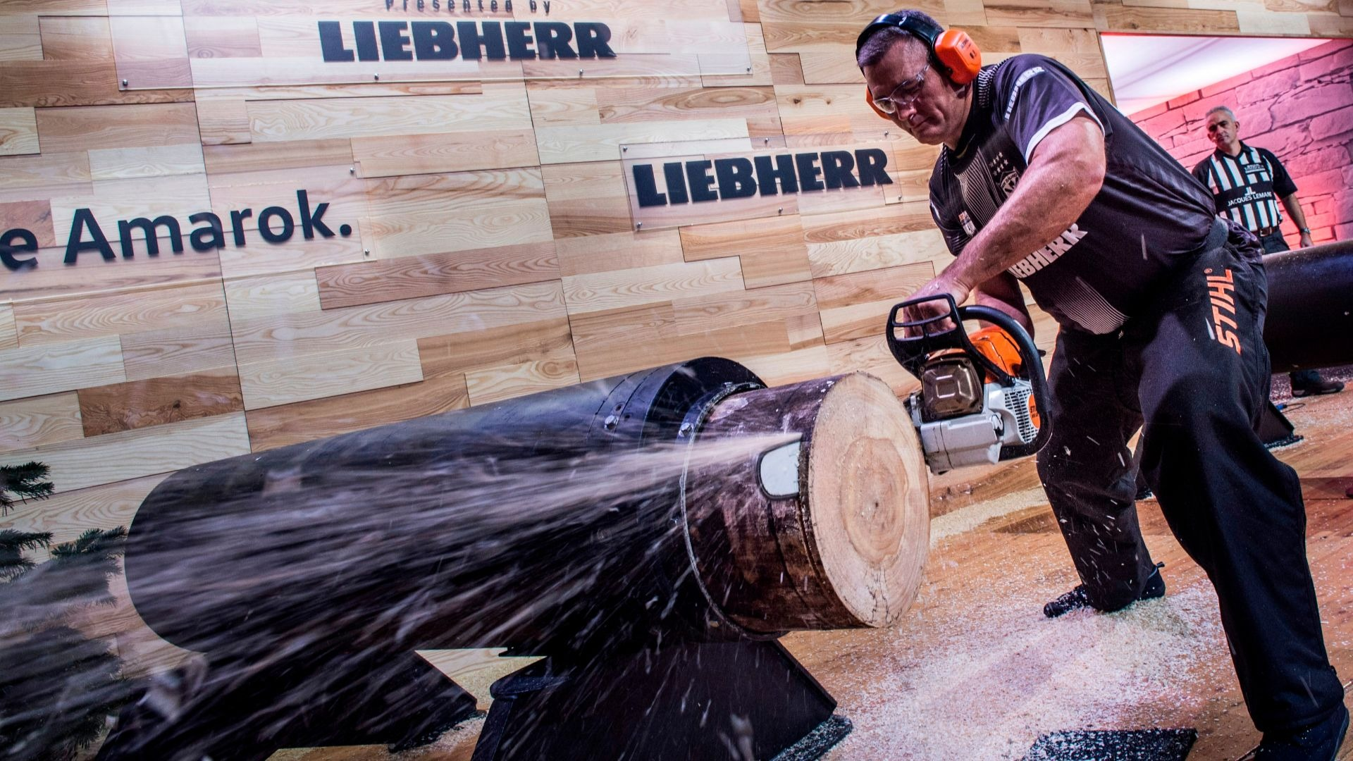 Jason Wynyard of New Zealand competes in the Stock Saw discipline.