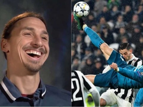 Ibrahimovic laughing at Ronaldo.