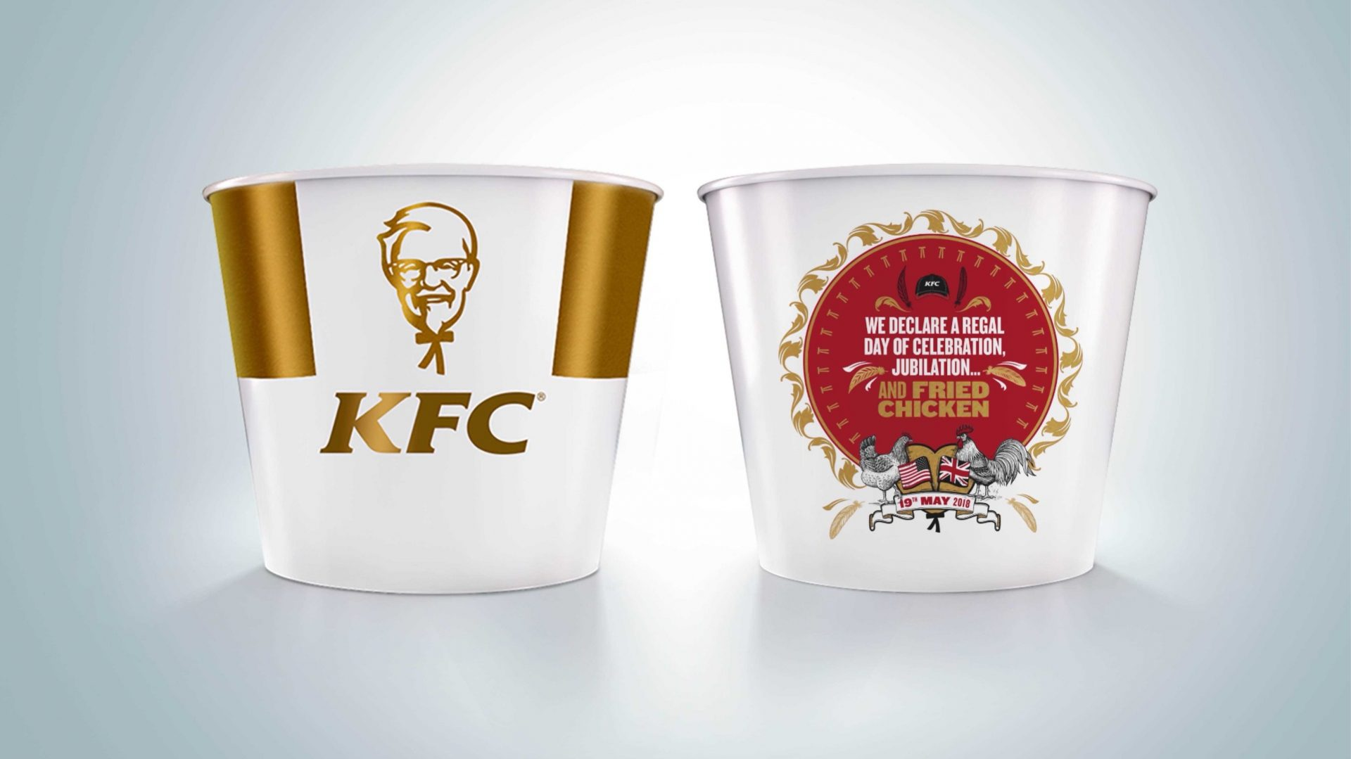 KFC launch a limited-edition ornately designed commemorative bucket to celebrate the Royal Wedding. Just 50 of the specially designed buckets are being created and will be available exclusively from KFC's Windsor restaurant on the wedding day itself.