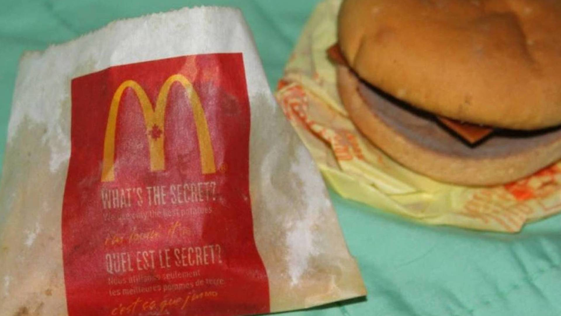 The six-year-old McDonald's cheeseburger and fries.