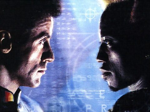 Sylvester Stallone and Wesley Snipes in Demolition Man.