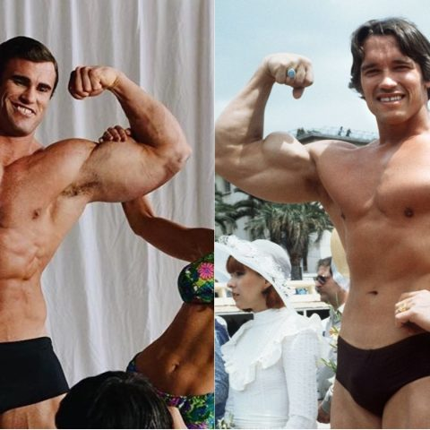 Calum Von Moger and Arnold Schwarzenegger side by side.