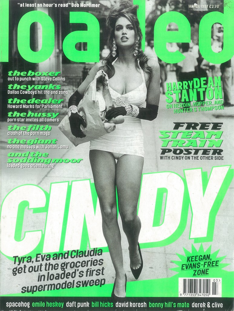 Cindy Crawford gives readers an eyeful on the cover of Loaded